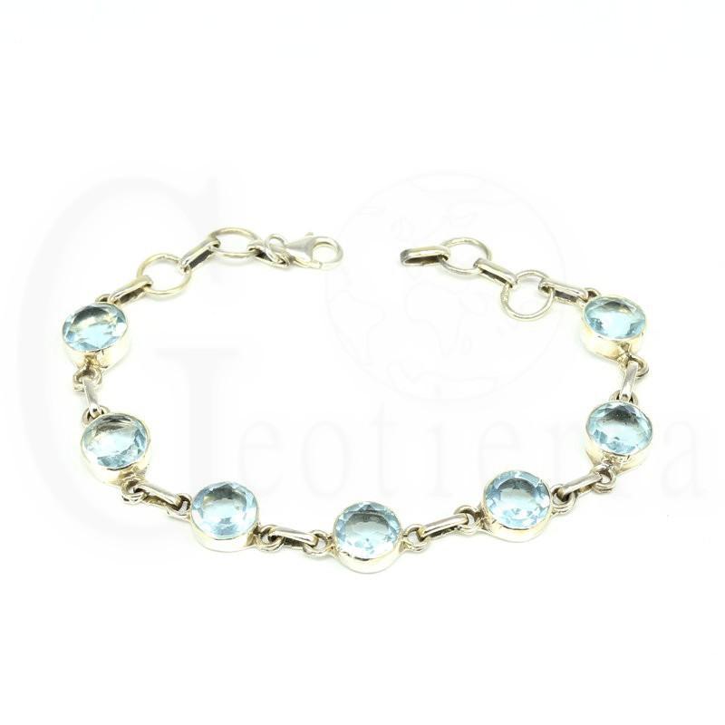 pulsera plata topacio azul