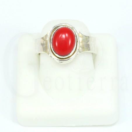 anillo coral plata