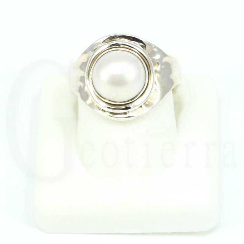 anillo perla plata