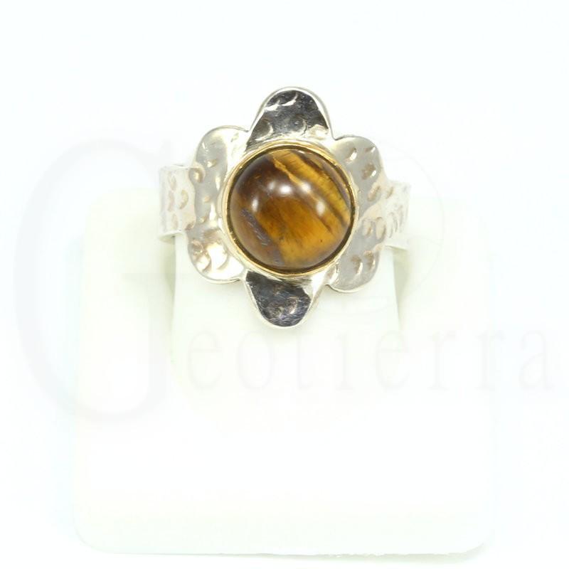 anillo ojo tigre plata