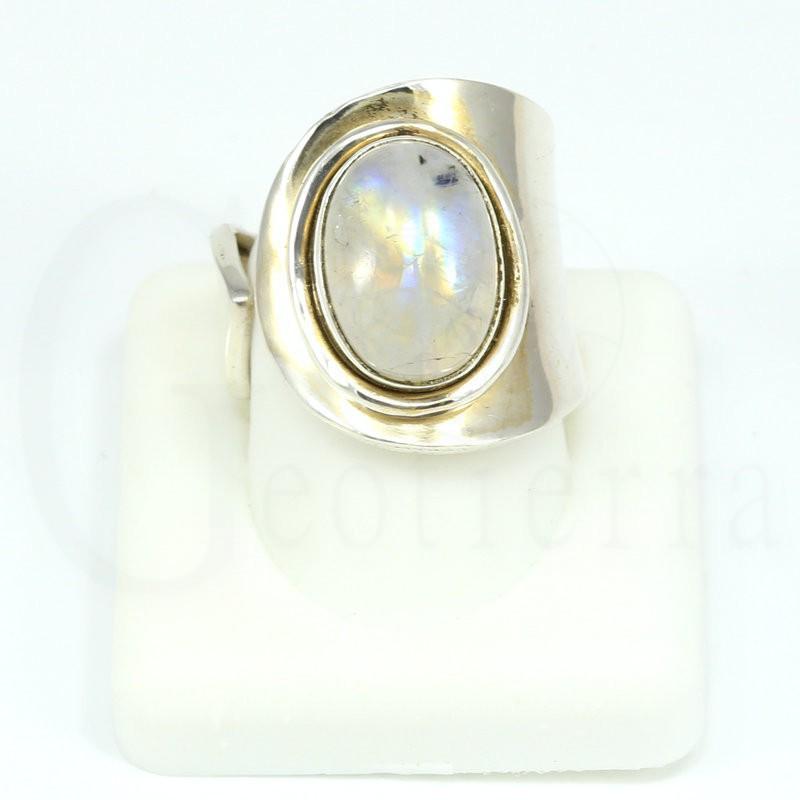 anillo piedra luna plata