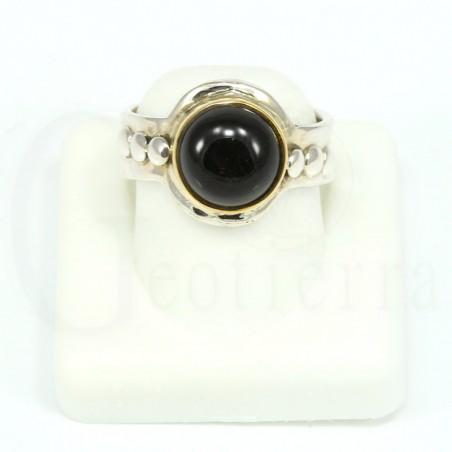 anillo onix negro plata