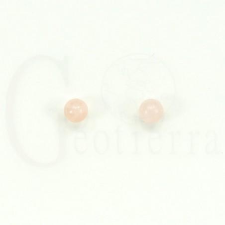 pendientes cuarzo rosa 6mm