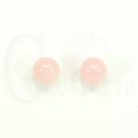 pendientes cuarzo rosa 10mm