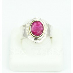 anillo rubi y plata