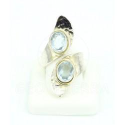 anillo topacio azul y plata