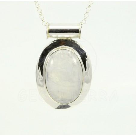 colgante piedra luna plata