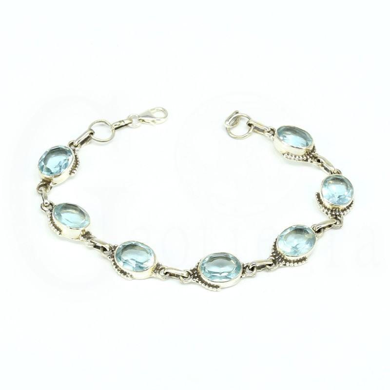 pulsera topacio azul plata