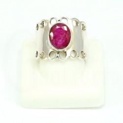 anillo rubi plata
