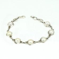pulsera perla natural plata