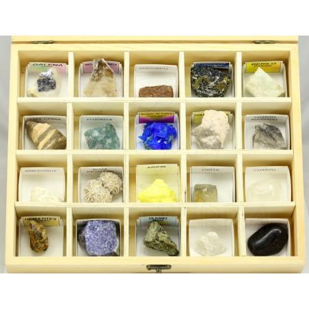 coleccion minerales madera