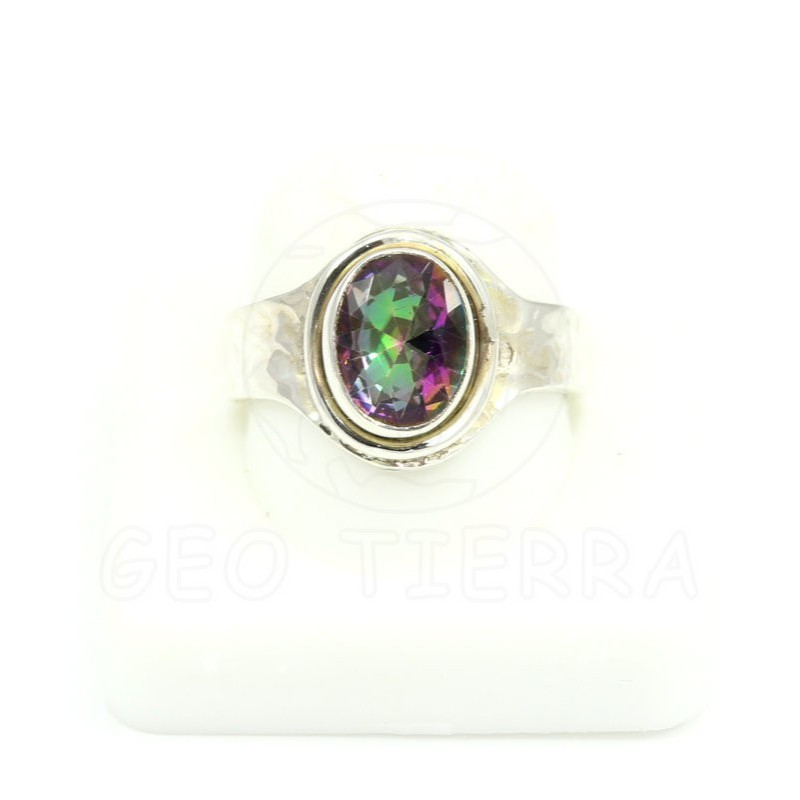 anillo topacio mistico plata