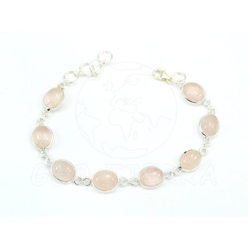 pulsera cuarzo rosa plata