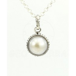 colgante perla plata