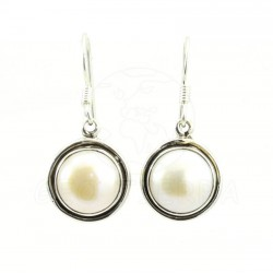pendientes perla plata